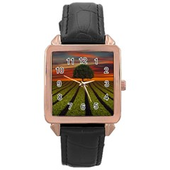 Natural Tree Rose Gold Leather Watch