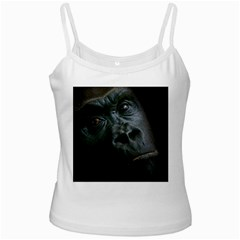 Gorilla Monkey Zoo Animal White Spaghetti Tank