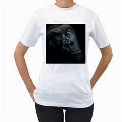 Gorilla Monkey Zoo Animal Women s T Shirt (white) (two Sided)