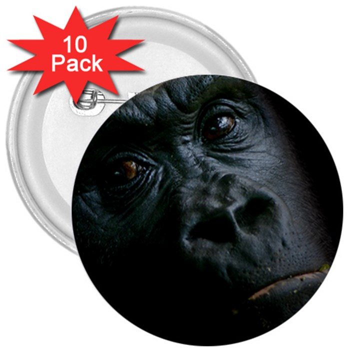 Gorilla Monkey Zoo Animal 3  Buttons (10 pack)
