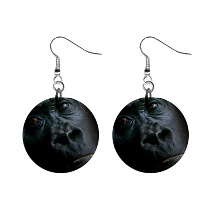 Gorilla Monkey Zoo Animal Mini Button Earrings