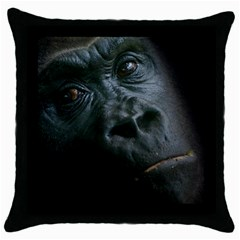Gorilla Monkey Zoo Animal Throw Pillow Case (black)