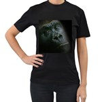 Gorilla Monkey Zoo Animal Women s T-Shirt (Black) (Two Sided) Front
