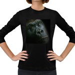 Gorilla Monkey Zoo Animal Women s Long Sleeve Dark T-Shirt Front