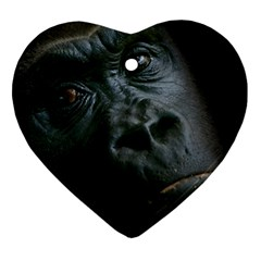 Gorilla Monkey Zoo Animal Heart Ornament (Two Sides)