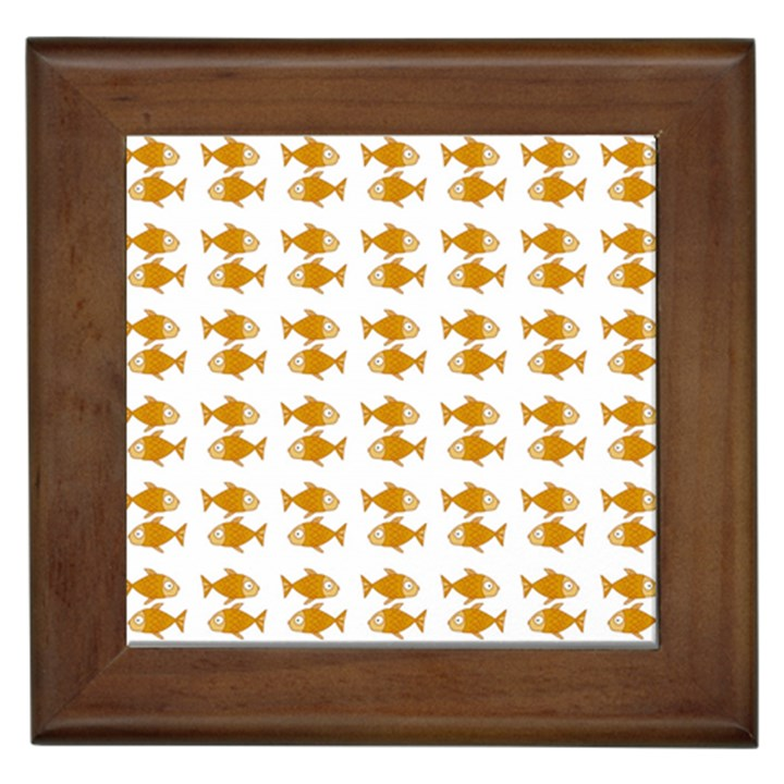 Small Fish Water Orange Framed Tiles