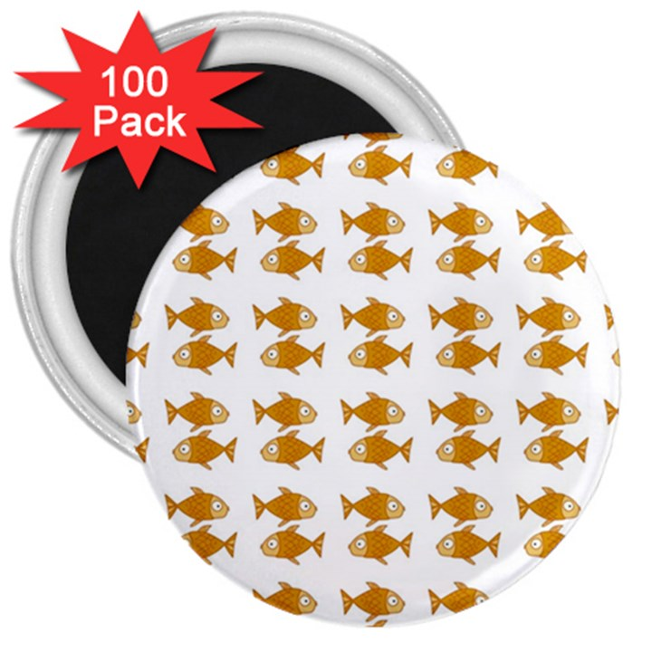 Small Fish Water Orange 3  Magnets (100 pack)