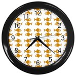 Small Fish Water Orange Wall Clock (Black) Front