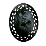 Gorilla Monkey Zoo Animal Oval Filigree Ornament (Two Sides) Back