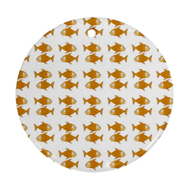Small Fish Water Orange Round Ornament (Two Sides)