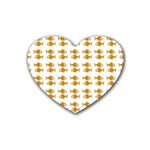 Small Fish Water Orange Rubber Coaster (Heart)  Front