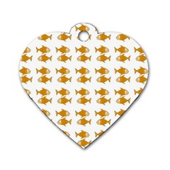 Small Fish Water Orange Dog Tag Heart (two Sides)
