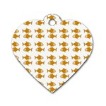 Small Fish Water Orange Dog Tag Heart (Two Sides) Back