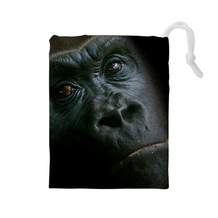 Gorilla Monkey Zoo Animal Drawstring Pouch (Large)
