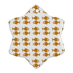 Small Fish Water Orange Snowflake Ornament (two Sides)