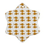 Small Fish Water Orange Snowflake Ornament (Two Sides) Back
