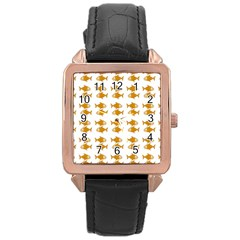 Small Fish Water Orange Rose Gold Leather Watch