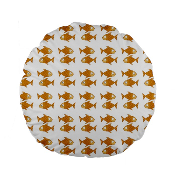 Small Fish Water Orange Standard 15  Premium Flano Round Cushions