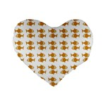 Small Fish Water Orange Standard 16  Premium Flano Heart Shape Cushions Front