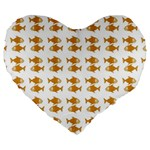 Small Fish Water Orange Large 19  Premium Flano Heart Shape Cushions Front