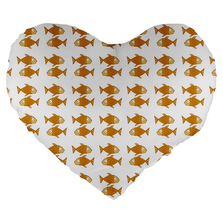 Small Fish Water Orange Large 19  Premium Flano Heart Shape Cushions