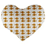 Small Fish Water Orange Large 19  Premium Flano Heart Shape Cushions Back