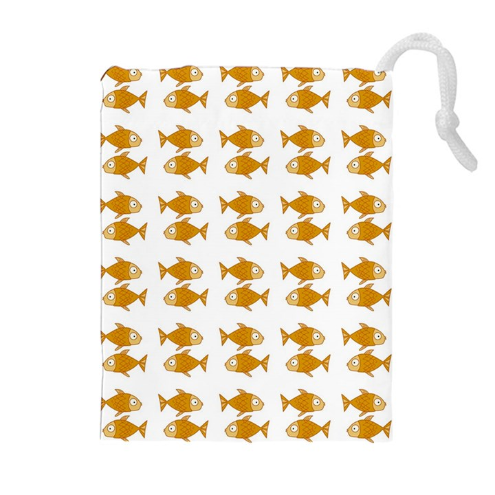 Small Fish Water Orange Drawstring Pouch (XL)