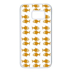 Small Fish Water Orange Samsung Galaxy S7 White Seamless Case by Alisyart
