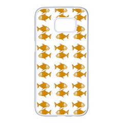 Small Fish Water Orange Samsung Galaxy S7 Edge White Seamless Case by Alisyart