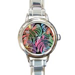 Leaves Tropical Jungle Pattern Round Italian Charm Watch Front