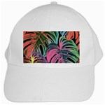 Leaves Tropical Jungle Pattern White Cap Front