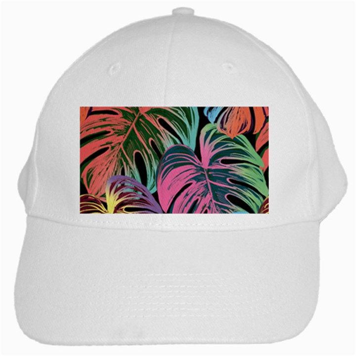 Leaves Tropical Jungle Pattern White Cap