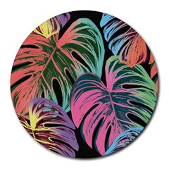 Leaves Tropical Jungle Pattern Round Mousepads by Nexatart
