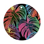 Leaves Tropical Jungle Pattern Ornament (Round) Front