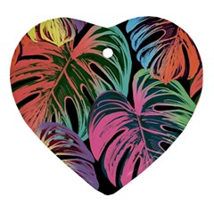 Leaves Tropical Jungle Pattern Ornament (heart)