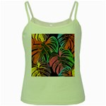 Leaves Tropical Jungle Pattern Green Spaghetti Tank Front