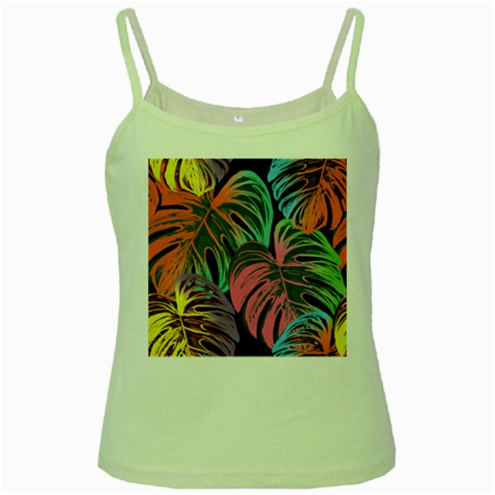 Leaves Tropical Jungle Pattern Green Spaghetti Tank