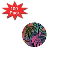 Leaves Tropical Jungle Pattern 1  Mini Buttons (100 Pack)  by Nexatart