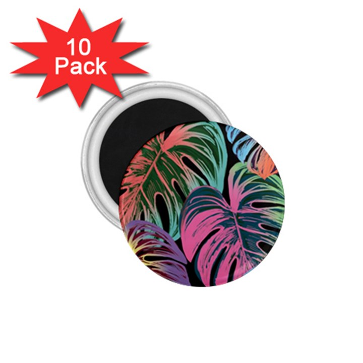 Leaves Tropical Jungle Pattern 1.75  Magnets (10 pack)