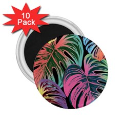 Leaves Tropical Jungle Pattern 2 25  Magnets (10 Pack)  by Nexatart