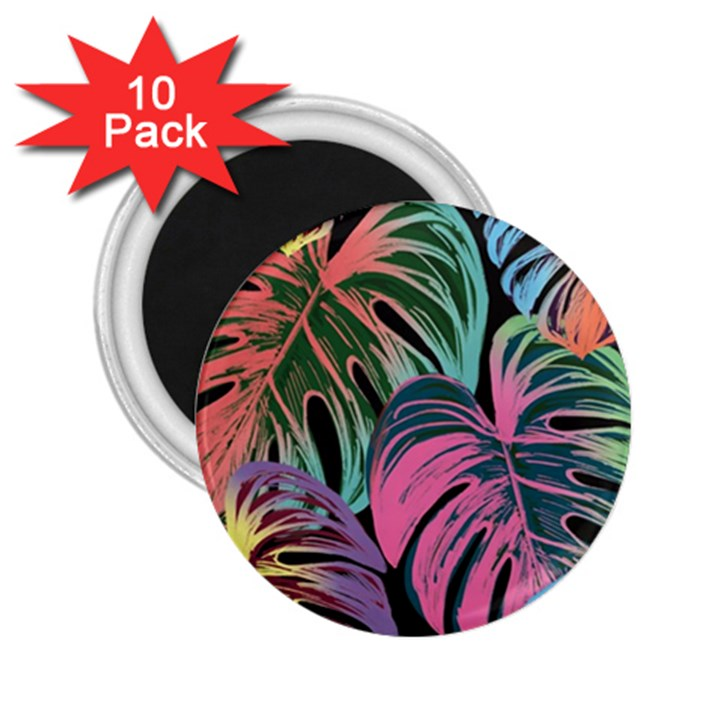 Leaves Tropical Jungle Pattern 2.25  Magnets (10 pack)