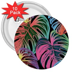 Leaves Tropical Jungle Pattern 3  Buttons (10 Pack)