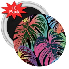Leaves Tropical Jungle Pattern 3  Magnets (10 Pack)  by Nexatart