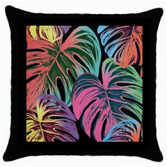 Leaves Tropical Jungle Pattern Throw Pillow Case (black) by Nexatart