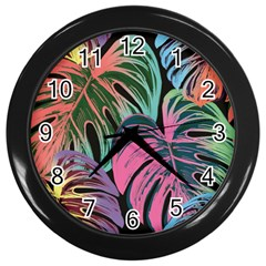 Leaves Tropical Jungle Pattern Wall Clock (black) by Nexatart