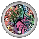 Leaves Tropical Jungle Pattern Wall Clock (Silver) Front
