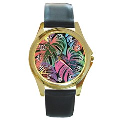 Leaves Tropical Jungle Pattern Round Gold Metal Watch