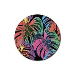 Leaves Tropical Jungle Pattern Rubber Coaster (round)  by Nexatart
