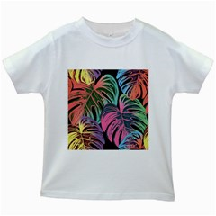 Leaves Tropical Jungle Pattern Kids White T Shirts