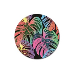 Leaves Tropical Jungle Pattern Magnet 3  (round)